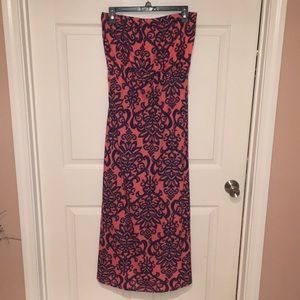 Coral Maxi Dress with Navy Design